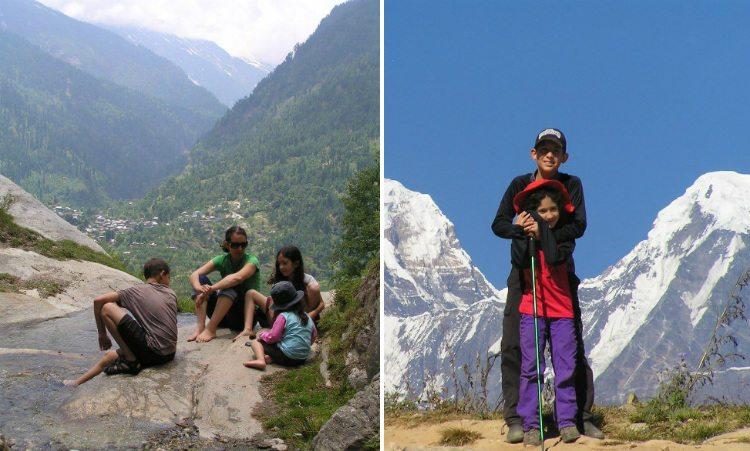 סמדר הללי אברמוביץ' עם הילדים בנפאל