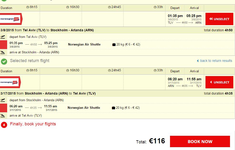 טיסה זולה לשבדיה