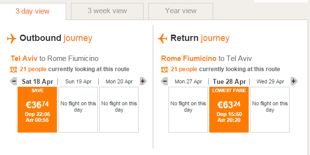 טיסה זולה לרומא