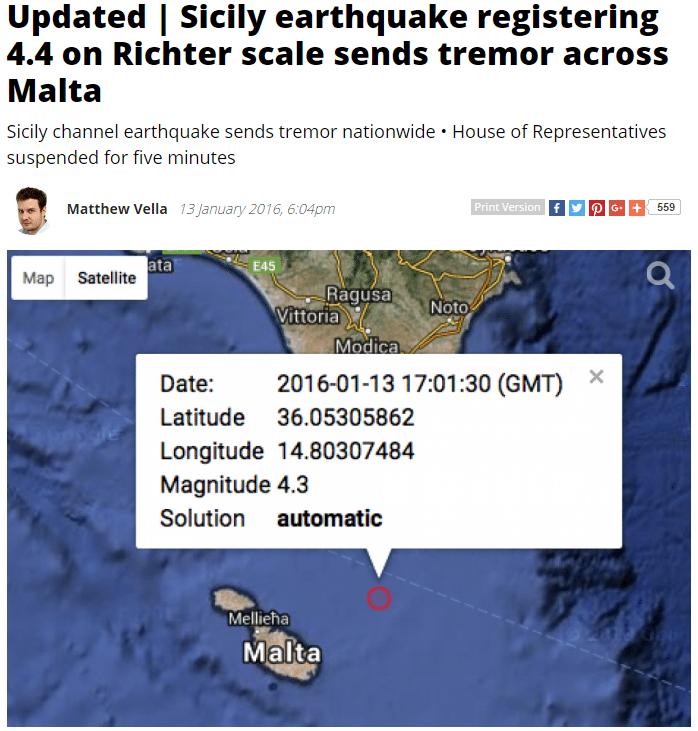 רעידת האדמה במלטה