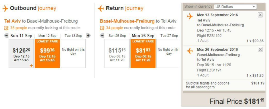 טיסות זולות לבאזל